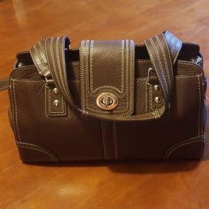 Brown Coach Pebbled Hamptons Bag